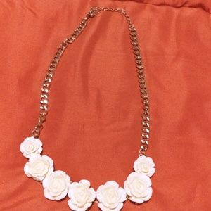 Cream Floral Statement Necklace